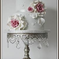 two tier rose cake