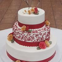 3 tier, red scroll work by Steel Penny Cakes, Elysia Smith