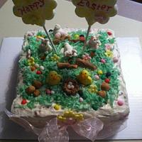 Bunny and Chick Easter Cake