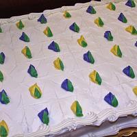 Yellow & white rosette wedding cake & sheet cake