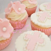 Baptism cupcakes and cookies