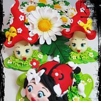 Sugar figurines ladybug and mushroom