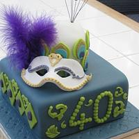 Mask and Peacock Cake