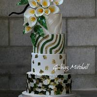 """Modern textures"", wedding cake for American Cake Decorating magazine, January/February issue 2016"