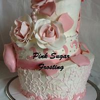 TOPSY TURVY BRIDAL SHOWER CAKE