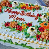 Fall buttercream floral sheet cake (100% BC)