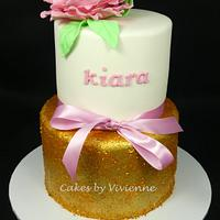 Gold Glitter Birthday Cake by Cakes by Vivienne