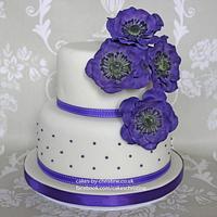 Purple Anemone Cake by Cakes by Christine