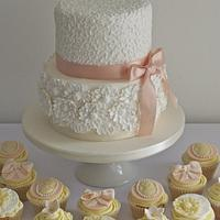 Peach and White Chocolate Wedding Cake and Cupcakes