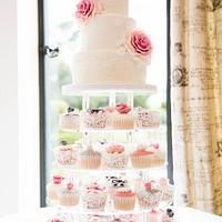 Vintage pink and grey cupcake tower