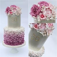Ombre Pink Ruffle 30th Birthday Cake
