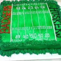 Badgers vs Huskers Football Field Cake