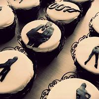 James Bond silhouette cupcakes
