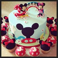 Micket Mouse Clubhouse cake and Minnie Cupcakes