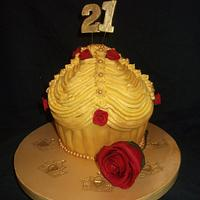 Beauty and the beast inspired giant cupcake