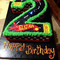 Number 2 Hot Wheels cake
