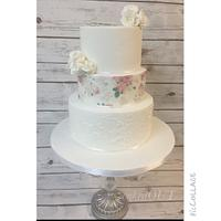 Vintage rose wedding cake