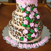 Leopard & Apple Blossom Christening Cake