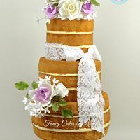 Vintage Naked Wedding Cake with Sugar Flowers