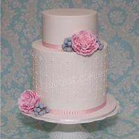 Pink Austin Rose & Silver Brunia Wedding Cake by CakeAvenue