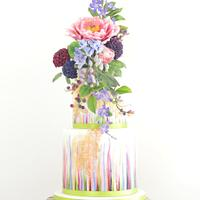 Colourful cake with flowers