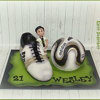 Ball and shoe cake
