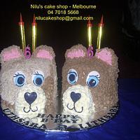 Cute Bear Cake for Twins