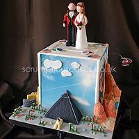 Scenes of Vegas Wedding Cake