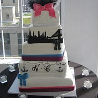 Wedding Cake 5 Tiers NYC Theme and Skyline