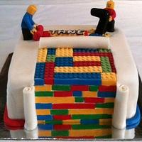 lego inspired rainbow cake