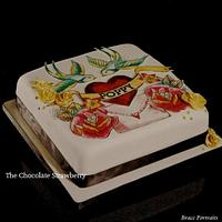 Hand painted tattoo cake with 3D gold roses