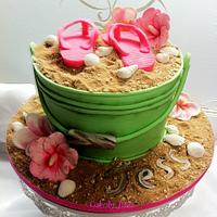 Beach in a Bucket cake