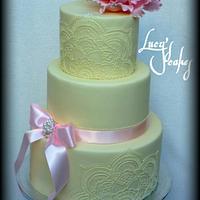 Wedding cake hand painted Royal Icing