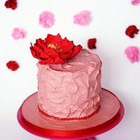 Strawberry Ganache cake with red peony