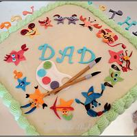 Cake with Zodiac signs & art pallette for a DAD