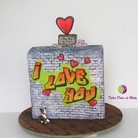 Graffiti Cake for Valentine's Day