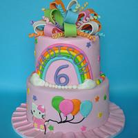 Hello Kitty Rainbow Cake