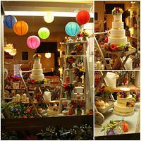Rustic Brights Wedding Cake Window Display