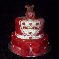 cake with hearts and teddy