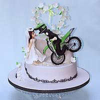 Wedding cake for motocross fans