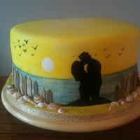 Beach theme Wedding cake.