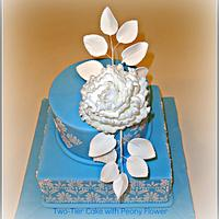 Two-Tier Damask Cake with Peony
