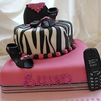 2 Tiered Zebra print cake