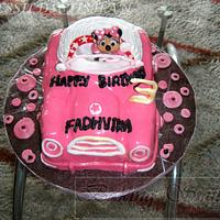 """MINNIE MOUSE & CAR"" CAKE"