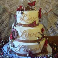 primitive themed wedding cake