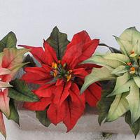 Poinsettia Christmas cake Toppers