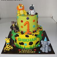 Jungle Animals theme 2 tier designer cake for boys 1st birthday