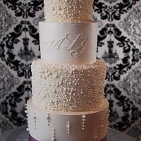 Pearl Encrusted Wedding Cake