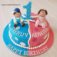 Customized cake for twin boy n girls 1st birthday