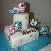 winter birthday cake with owls